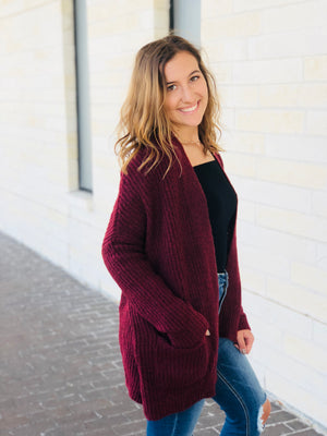 Burgundy Pocket Cardigan