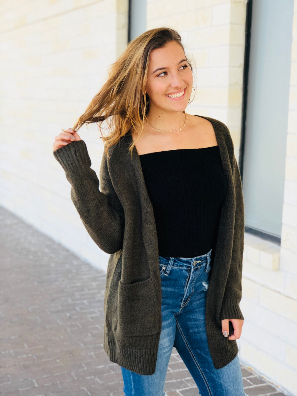 Olive Pocket Cardigan