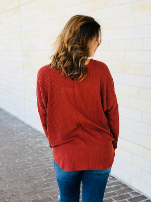 Thermal Knit Button Up Top - Rust