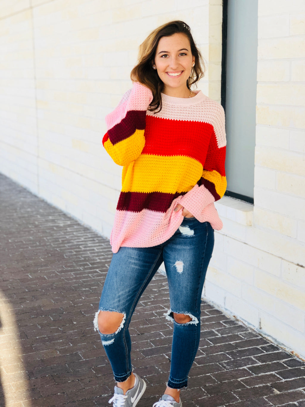 Flare Sleeve Multi Stripe Sweater