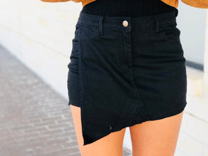 Frayed Asymmetric Hem Denim Skort