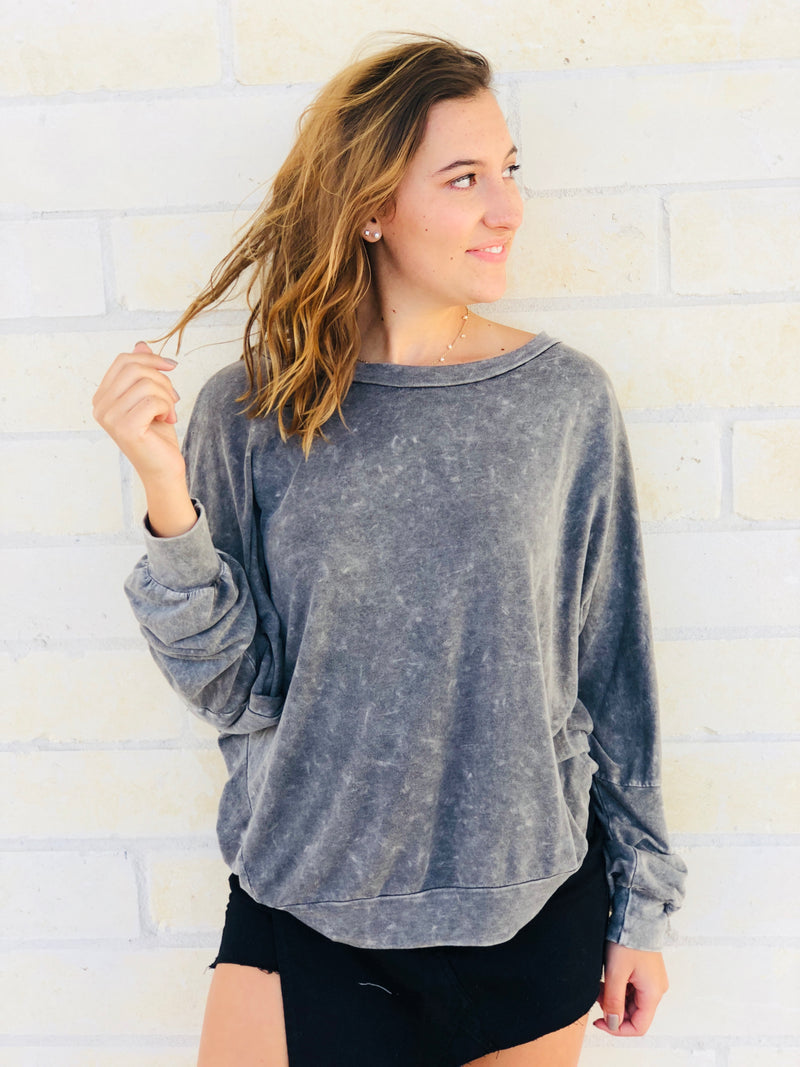 Charcoal Open Back Sweatshirt
