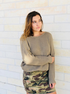 Twist Back Sweater - Mocha