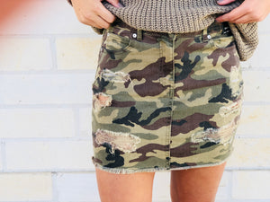 Camo Distressed Skirt