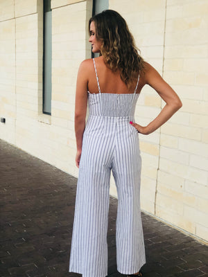 Off White Striped Tie Jumpsuit