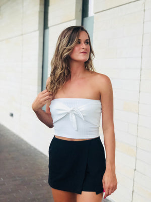 White Ribbed Tube Top