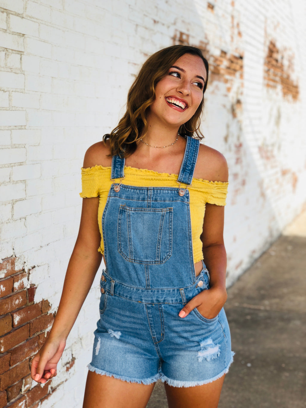 Light Wash Denim Overall Shorts