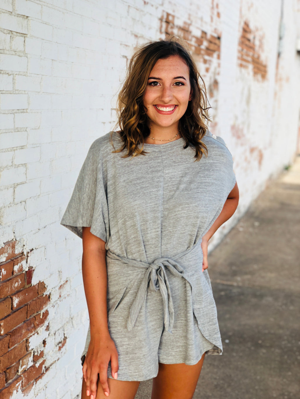 Heather Gray Tie Romper