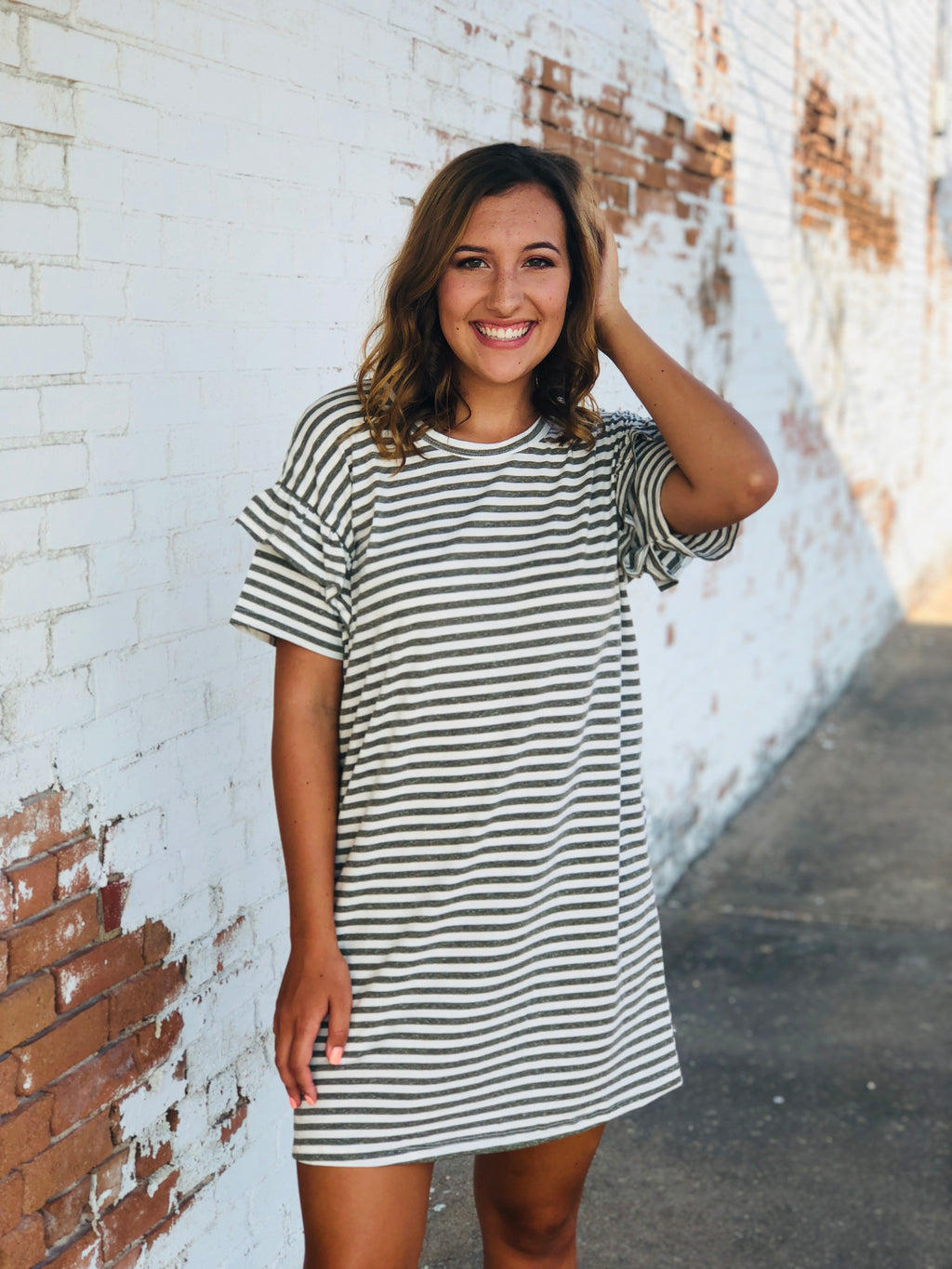 Olive Striped Dress