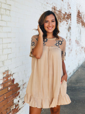 Beige Babydoll Dress With Floral Lace