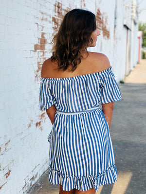 The Halee Dress - Blue & White