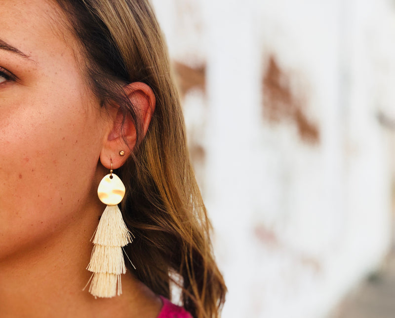 Ivory Cream Tassel Earrings - Gold