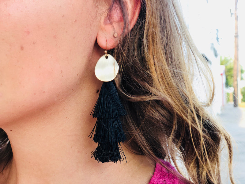 Black Tassel Earrings - Gold