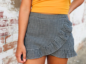 Gingham Ruffled Skort