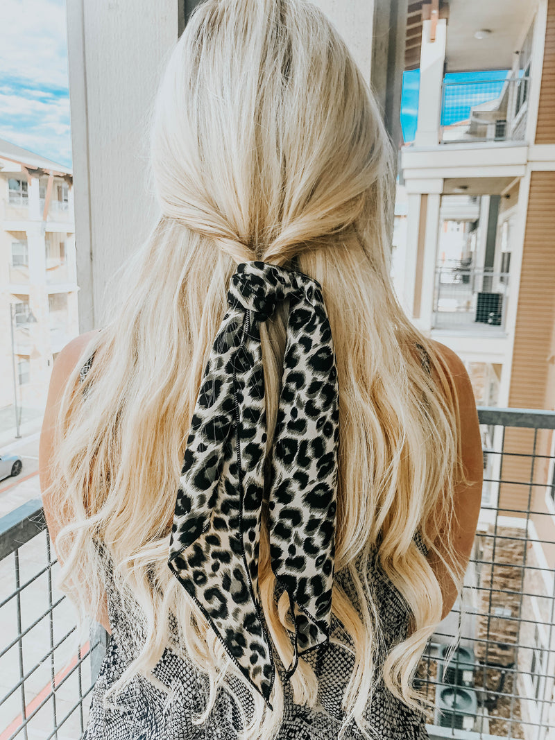 PREORDER Leopard Hair Scarf - Taupe