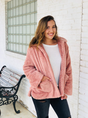 Mauve Faux Fur Teddy Coat Jacket