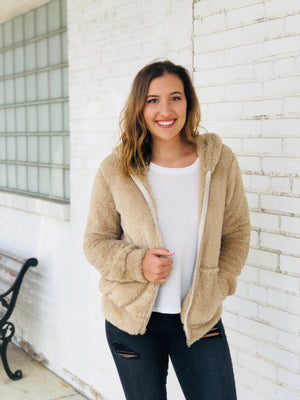 Khaki Faux Fur Hooded Teddy Jacket