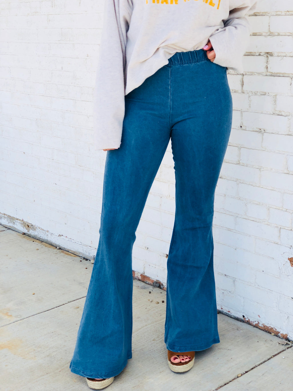 Light Wash Denim Bell Bottom Jeans