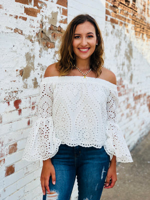 Eyelet Scalloped Top - White