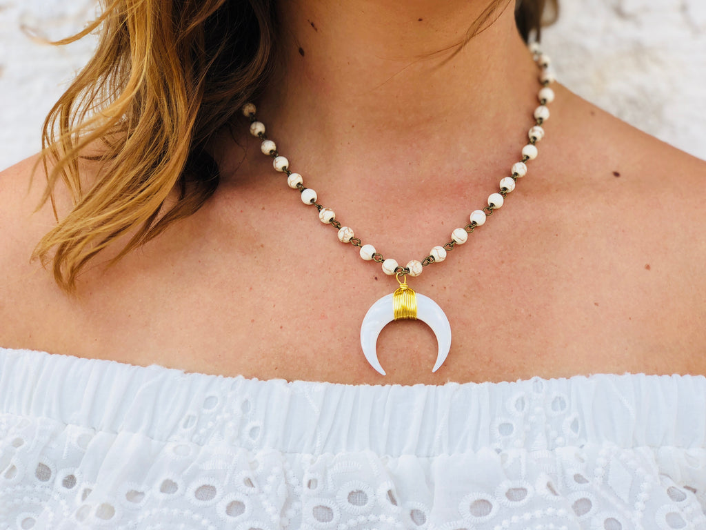 White Lies Crescent Necklace