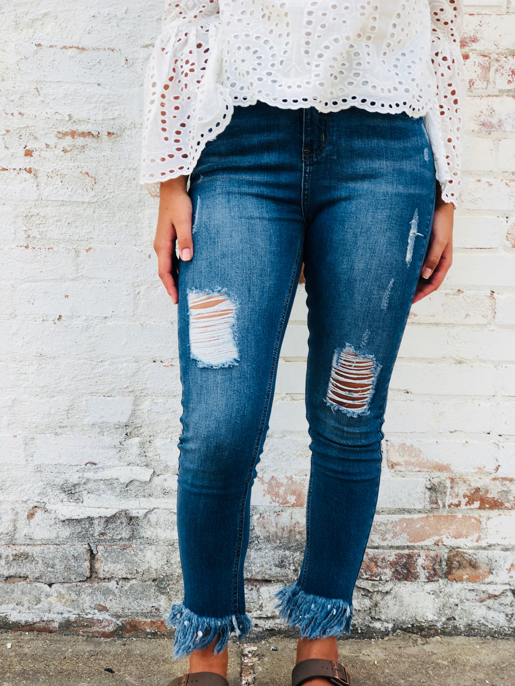 Distressed Denim Fray Jeans