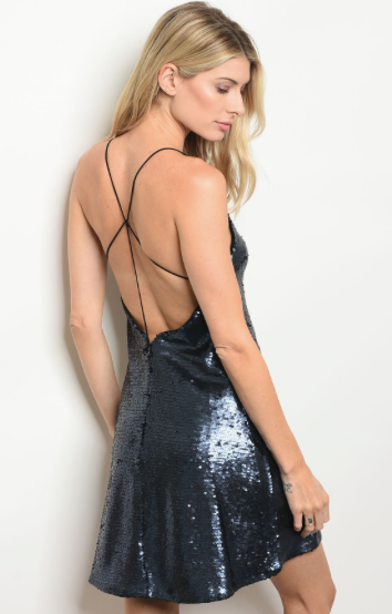 Navy Sequins Dress