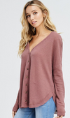 Thermal Knit Button Up Top - Dark Mauve