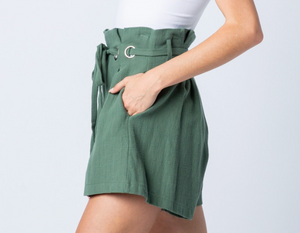 Jade Paper Bag Shorts