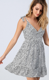 Surplice Wrap Tiered Dress
