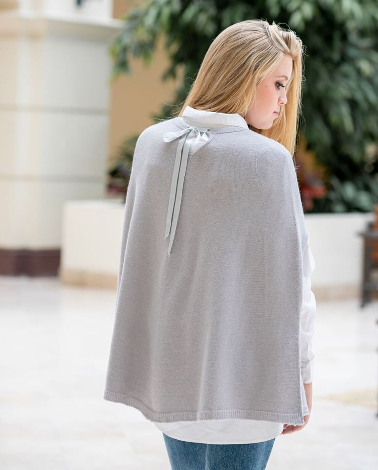 Cape with Satin Tie - Grey