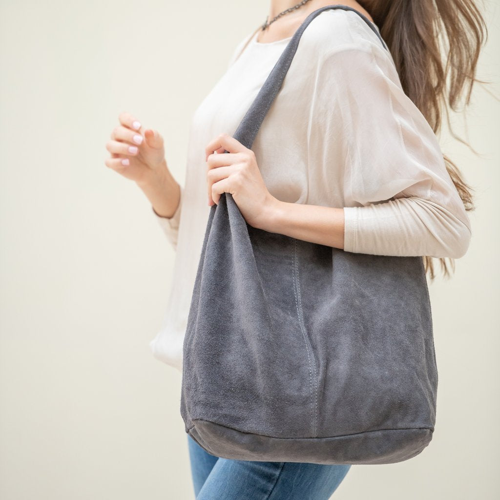 Suede Tote - Anthracite