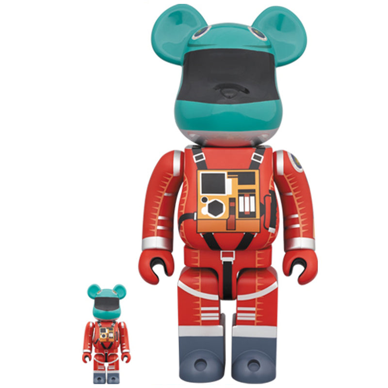 2001 A Space Odyssey Orange Space Suit 100% + 400% Bearbrick by Medicom Toy