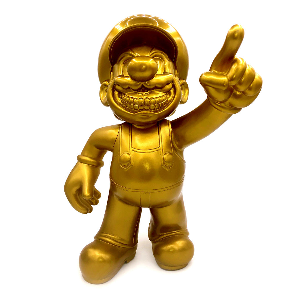 Autographed Ron English Popaganda x MINDstyle MC Supersized Mario Grin Gold Version