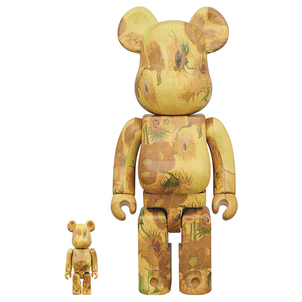 Van Gogh Museum Sunflowers 100% - 400% Bearbrick Set by Medicom Toy