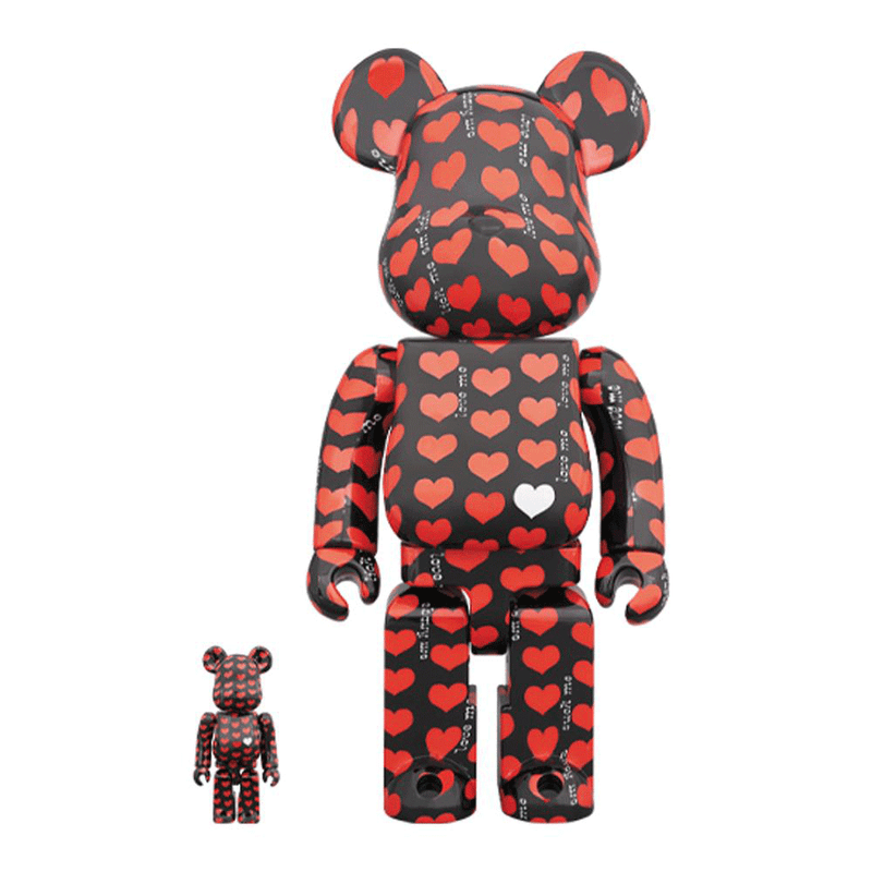 Hide Black Heart Pattern 100% + 400% Bearbrick by Medicom Toy