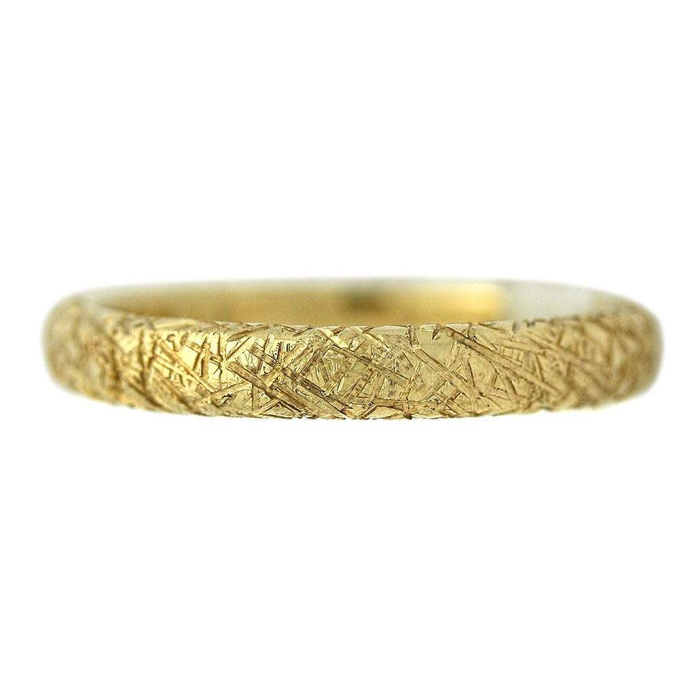 14k yellow gold hand etched wedding band