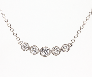 White Gold Necklace bezel set Diamonds