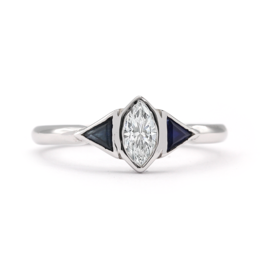 Diamond Marquise and Sapphire engagement ring