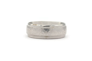14k white gold Beveled Edge Matte Wedding Band
