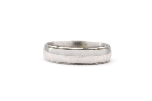 Satin Finish Milgrain Wedding Band