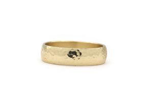 Yellow Gold Hammered Finish Wedding Band