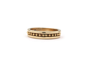 14k yellow gold wedding band beaded channel set