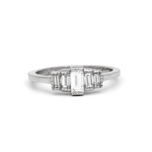 baguette cut diamond engagement ring