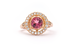 Pink Tourmaline Cocktail Ring in 14k rose gold with diamonds