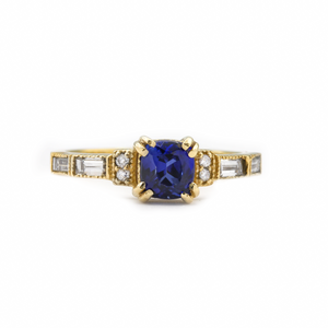 14k yellow gold sapphire engagement ring