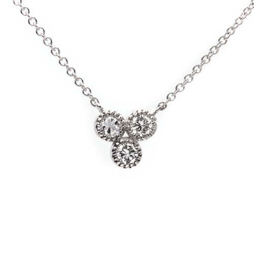 14k white gold triple clover bezel set diamond necklace