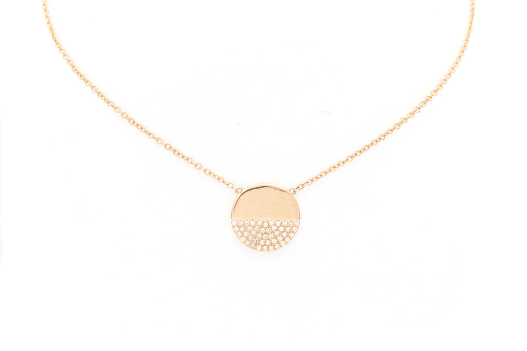 Rose Gold Semi Circle Pave Diamond Necklace