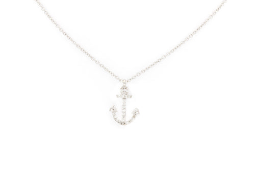 White Gold Anchor Necklace