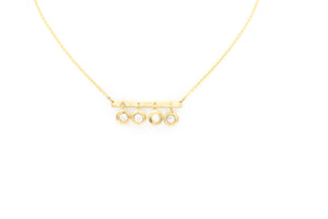 diamond dangle and bar necklace 14k yellow gold