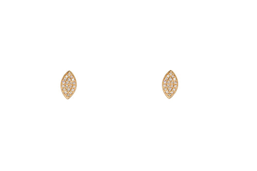 Rose Gold Marquis Shape Pave Diamond Earrings
